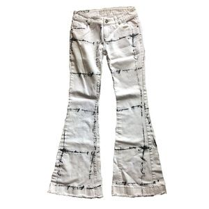 Free People Printed Flare Jeans